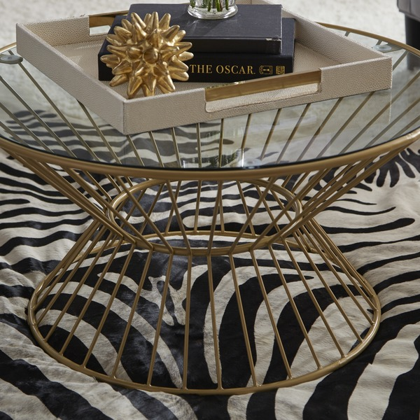 Gold Wire Framed Glass Top Coffee Table – Wooden-It-Be-Nice