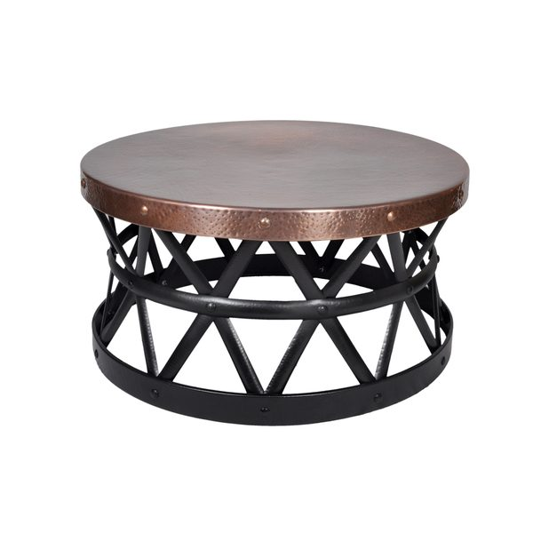 Contemporary Round Hammered Copper Coffee Table Wooden It Be Nice
