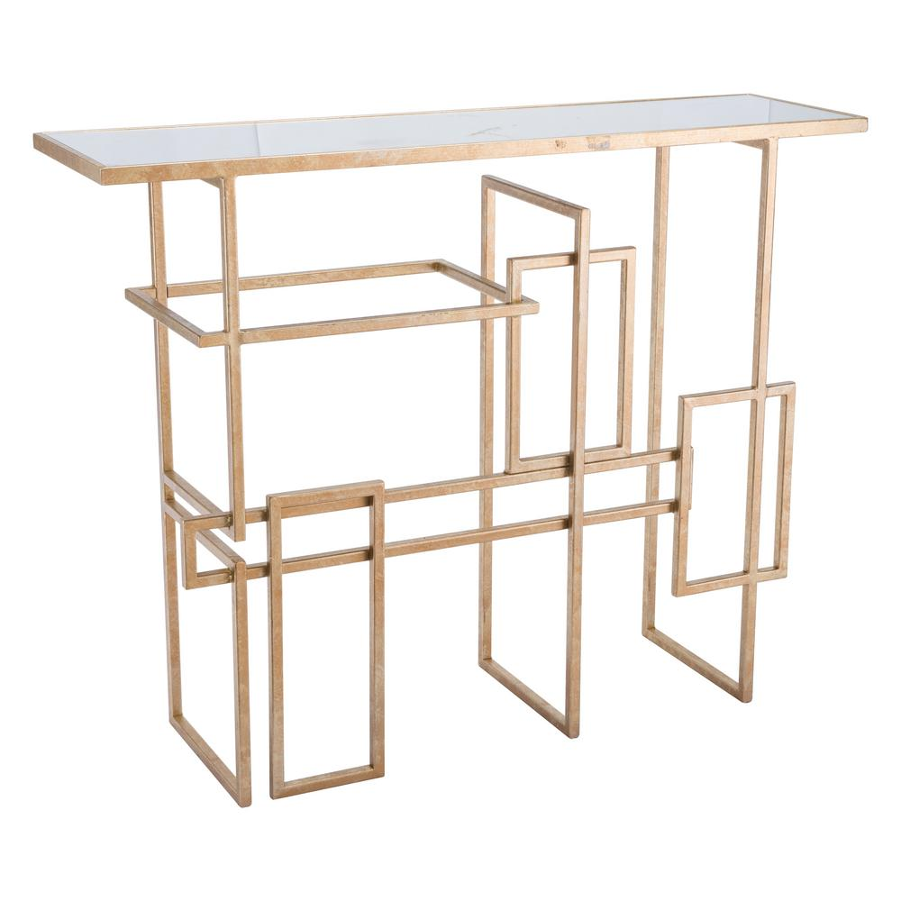 gold console table. Multiples Gold Console Table