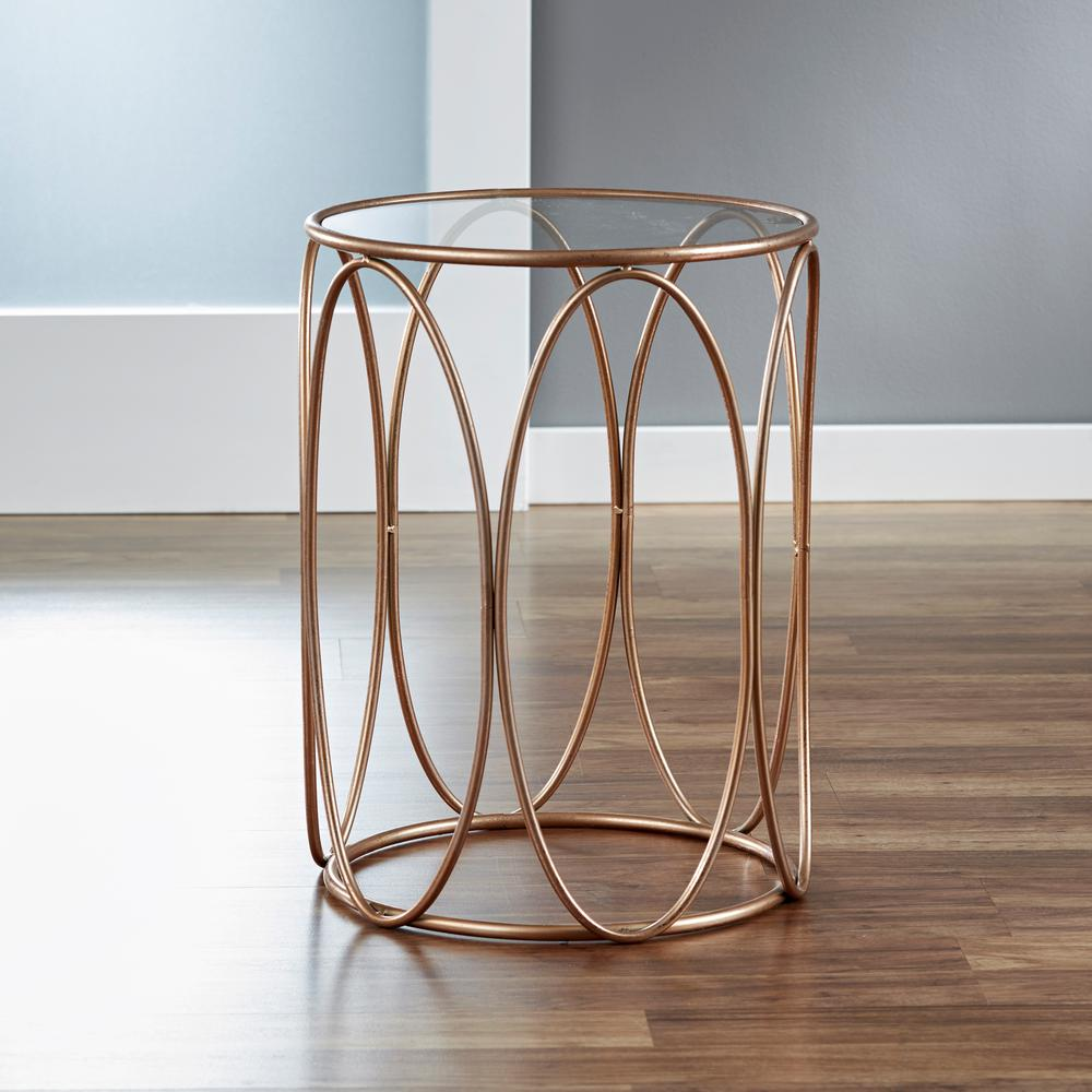 Rose Gold Mirrored Coffee Table: Rose Gold Oval Side Table Beveled Glass Top