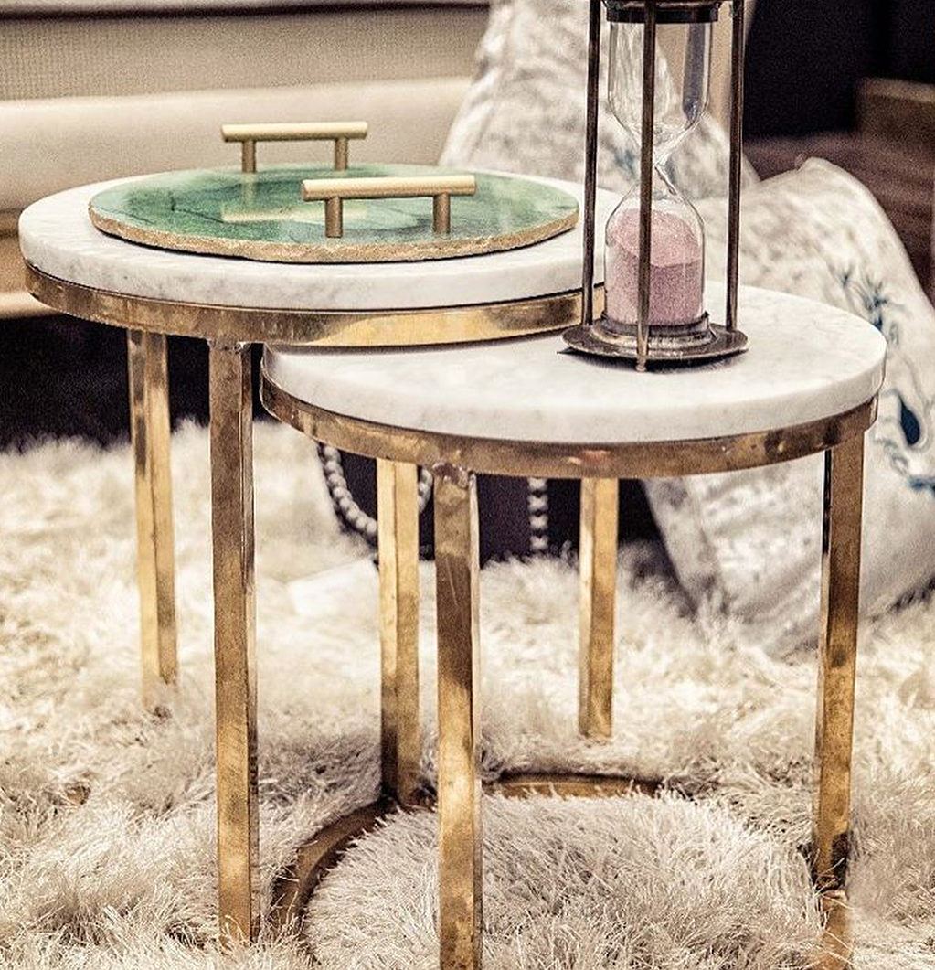 Marble Top Nesting Table Set Of 2 Wooden It Be Nice