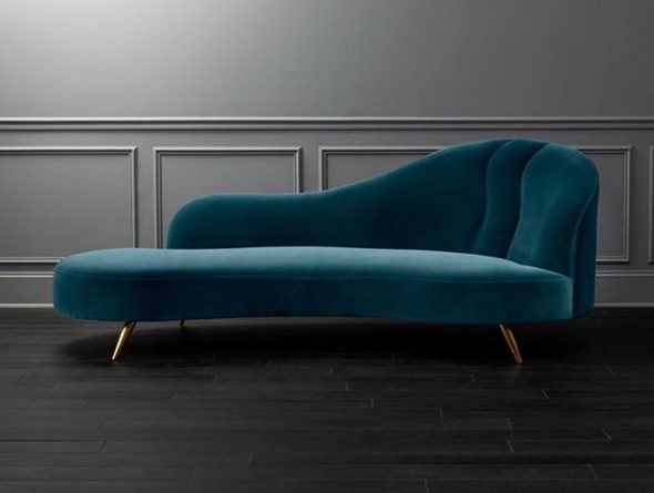 Peacock Velvet Curved Chaise Lounge Wooden It Be Nice